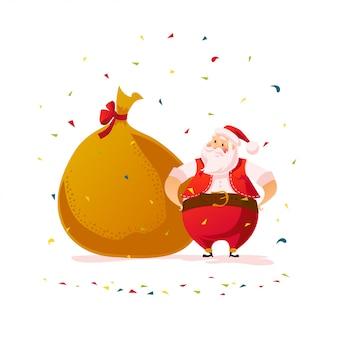 Conceito de ano novo e feliz natal. estilo de desenho animado. retrato de personagem de papai noel e saco de presente em fundo branco. bom para anúncio de felicitações de natal, cartão.
