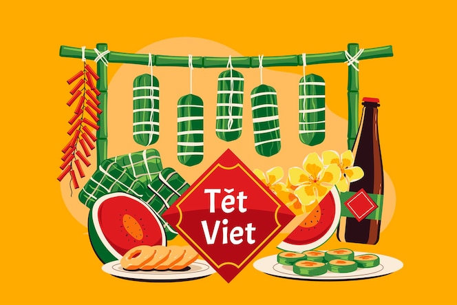 Conceito de ano novo vietnamita. tet viet significa ano novo lunar no vietnã
