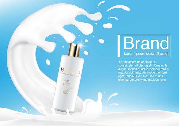 Conceito de anúncio cosmético em respingo de leite