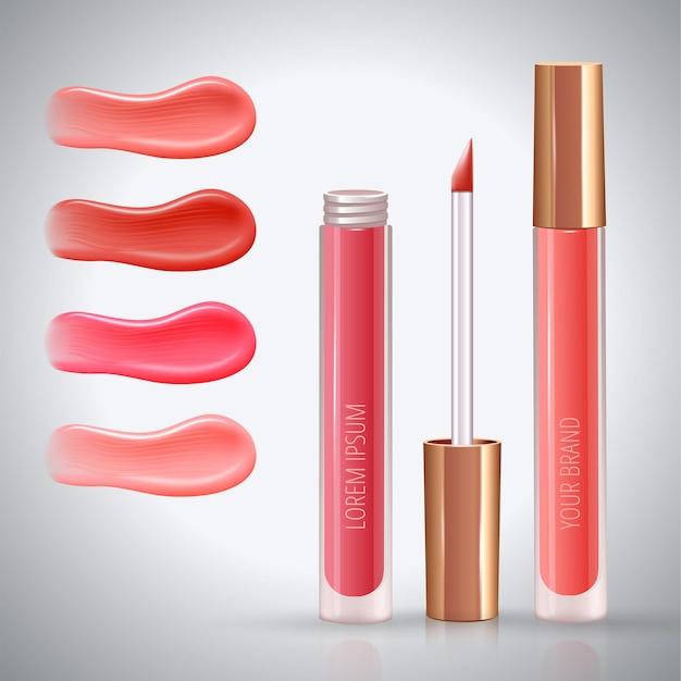 Conceito de anúncio de maquiagem para lábios com manchas de creme realistas de cores diferentes e batom líquido fechado e aberto