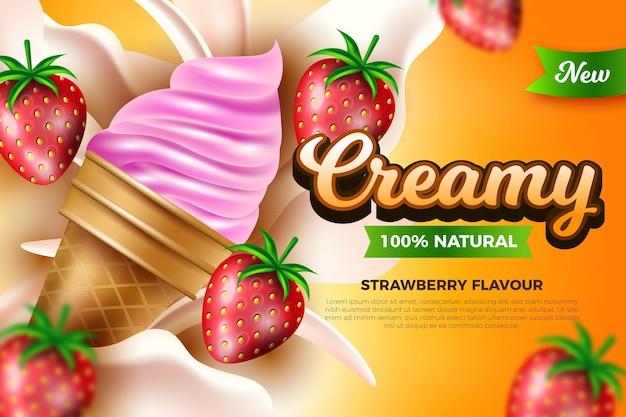 Conceito de anúncio realista de sorvete