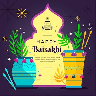 Conceito de apartamento feliz baisakhi com saudação