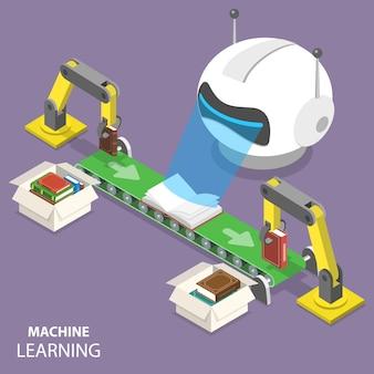 Conceito de apartamento isométrico de aprendizado de máquina.