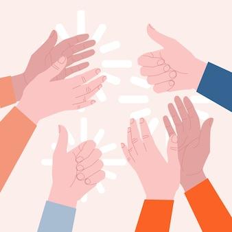 Conceito de aplausos. as mãos batem palmas e mostram os polegares. idéia de apreciação e ovação. ilustração