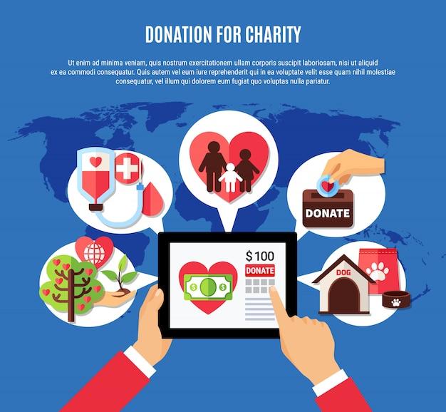 Conceito de aplicação de doação mundial