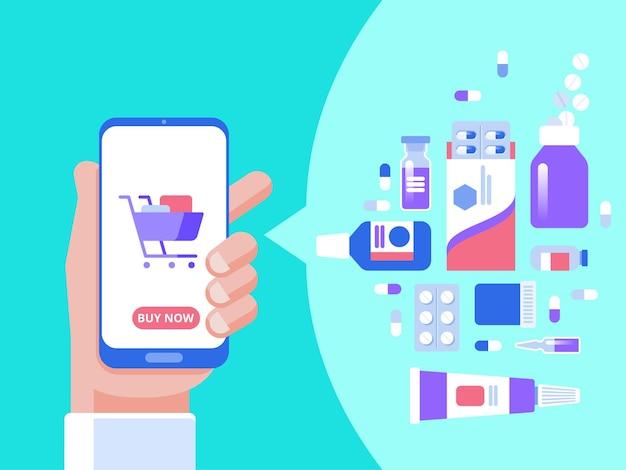 Conceito de aplicação de farmácia online. mão de uma pessoa comprando os comprimidos online com o smartphone.