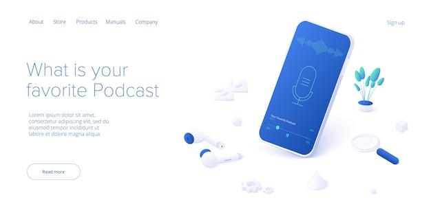 Conceito de aplicação de podcast em isométrico