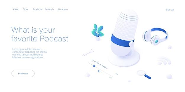 Conceito de aplicação de podcast em transmissão digital isométrica ou serviço de streaming online