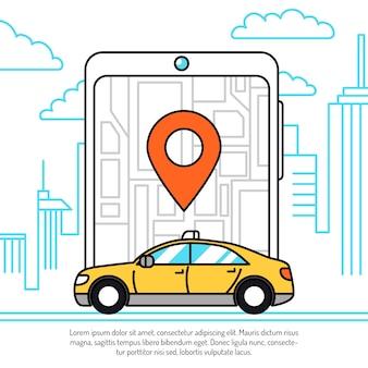 Conceito de aplicação de táxi