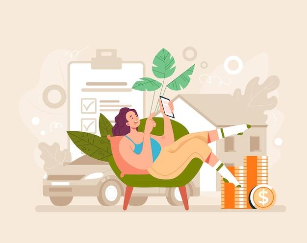 Conceito de aplicativo da web on-line móvel de agência de seguros. ilustração plana