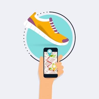 Conceito de aplicativo de aptidão na tela sensível ao toque. telefone celular e rastreador no pulso. estilo simples.