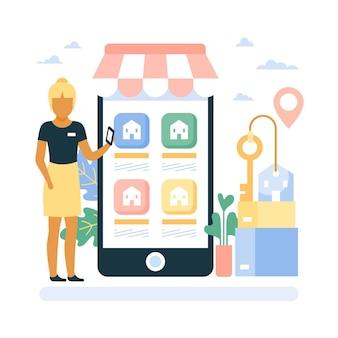 Conceito de aplicativo de assistência a corretor de imóveis