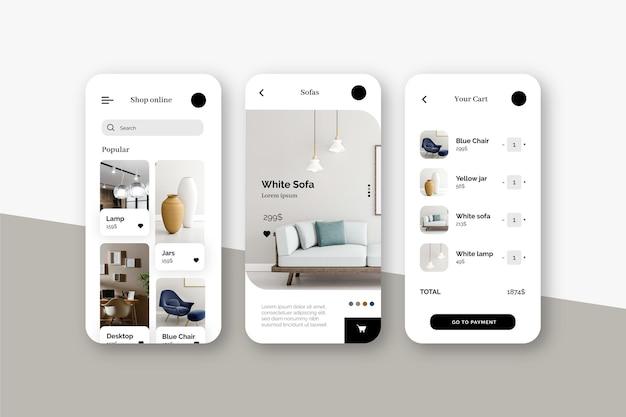 Conceito de aplicativo de compras de móveis