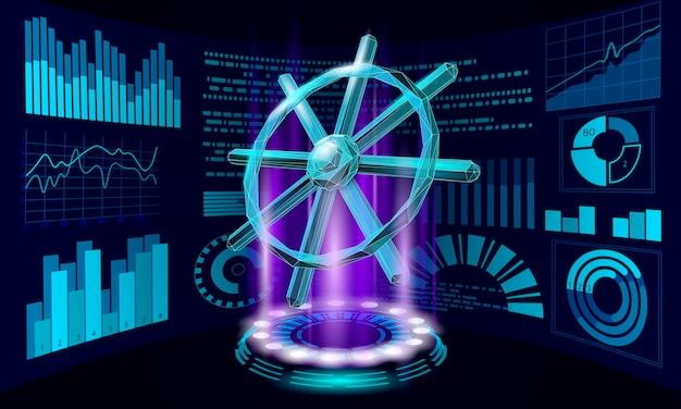 Conceito de aplicativo de desenvolvedor de computador do leme da roda. programa de código aberto digital para negócios. codificação de dados direcionando ilustração 3d de linha vetorial poligonal baixa.
