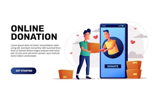 Conceito de aplicativo de doação online para arrecadação de fundos e contribuição para ilustração de outras pessoas, telefone e pessoas com cores vibrantes