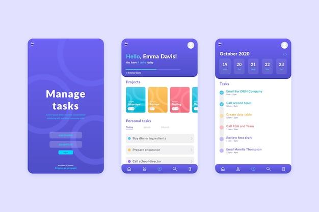Conceito de aplicativo de gerenciamento de tarefas