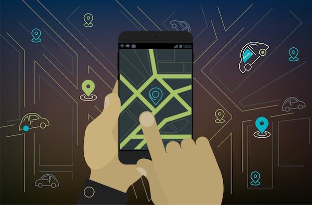 Conceito de aplicativo de localização, compartilhamento de carro móvel, navegação