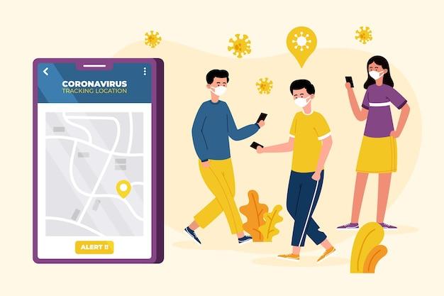 Conceito de aplicativo de localização de rastreamento de coronavirus