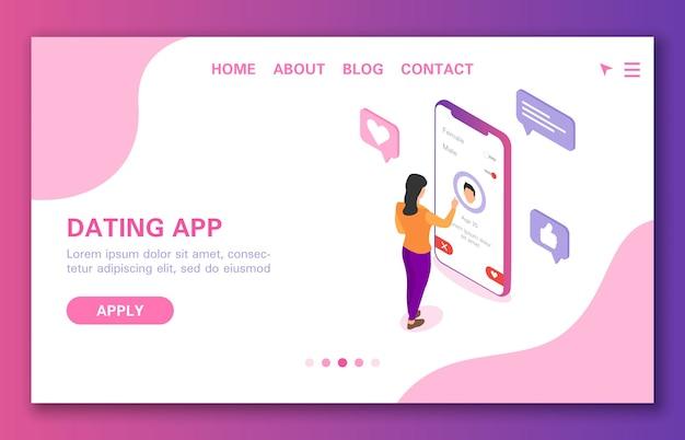 Conceito de aplicativo de namoro a garota está procurando um cara para se comunicar isométrica