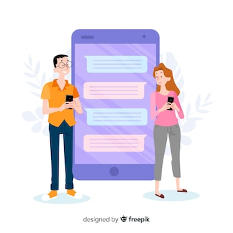 Conceito de aplicativo de namoro com caixa de bate-papo