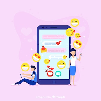 Conceito de aplicativo de namoro com emojis