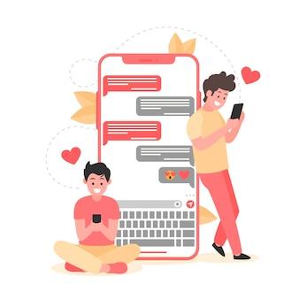 Conceito de aplicativo de namoro com homens