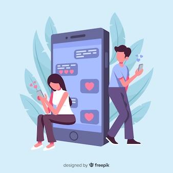 Conceito de aplicativo de namoro com iphone