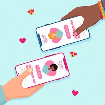 Conceito de aplicativo de namoro com mãos e telefones