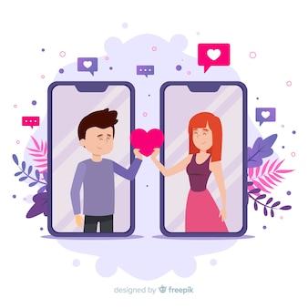 Conceito de aplicativo de namoro com menino e menina, recebendo um coração