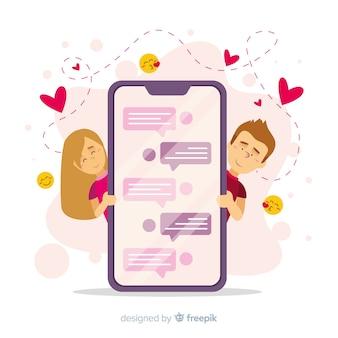 Conceito de aplicativo de namoro com telefone móvel