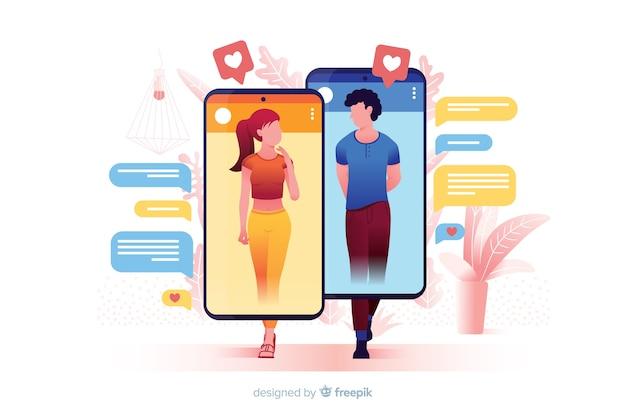 Conceito de aplicativo de namoro ilustrado