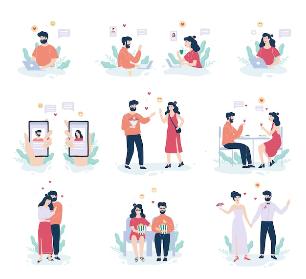 Conceito de aplicativo de namoro online. relacionamento virtual e amor