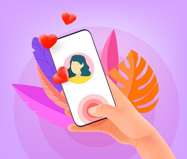 Conceito de aplicativo de namoro online