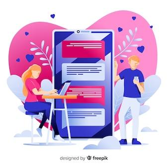 Conceito de aplicativo de namoro para página da web