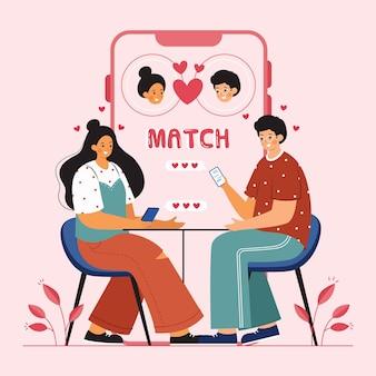 Conceito de aplicativo de namoro