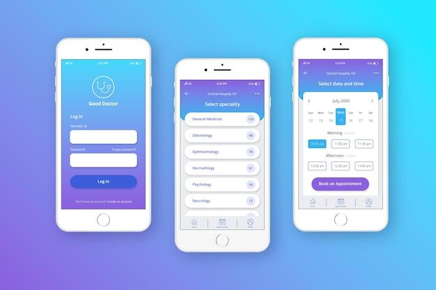 Conceito de aplicativo de reserva médica