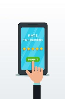 Conceito de aplicativo de revisão do cliente.