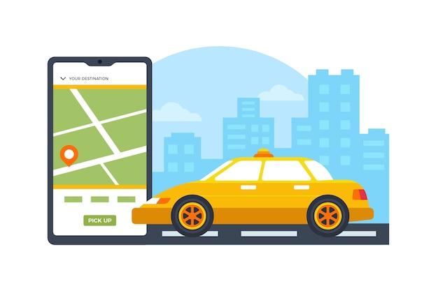 Conceito de aplicativo de serviço de táxi