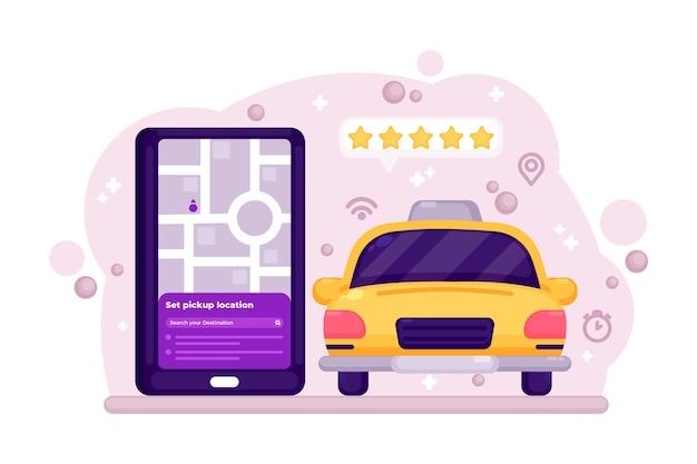 Conceito de aplicativo de táxi cinco estrelas