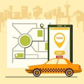 Conceito de aplicativo de táxi no celular