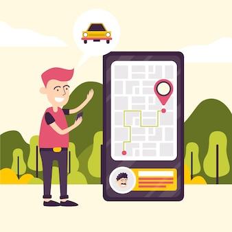Conceito de aplicativo de táxi