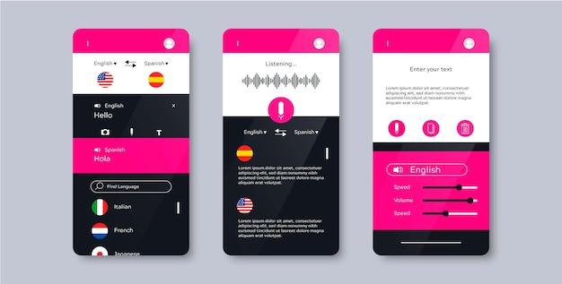 Conceito de aplicativo de tradutor de voz
