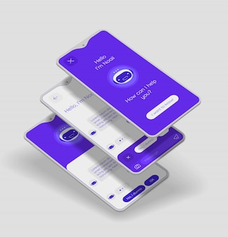 Conceito de aplicativo móvel chatbot com maquetes 3d