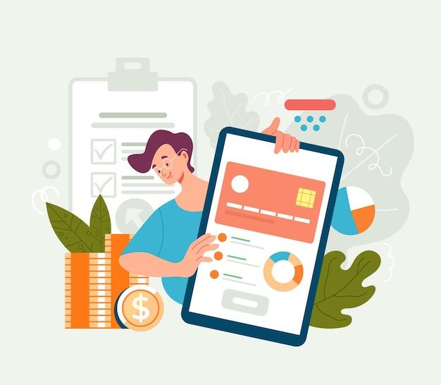 Conceito de aplicativo móvel de gerenciamento de banco de empréstimo de cartão de crédito. ilustração plana Vetor Premium