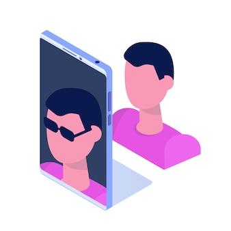 Conceito de aplicativo móvel de realidade aumentada. ilustração vetorial