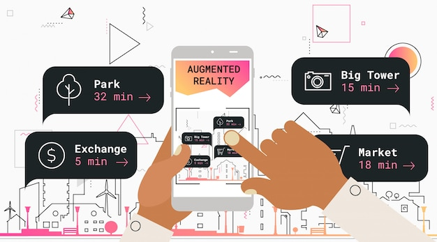 Conceito de aplicativo móvel de turismo de realidade aumentada