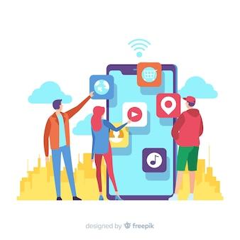 Conceito de aplicativos móveis para a página de destino