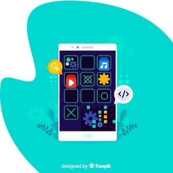 Conceito de aplicativos móveis para página de destino