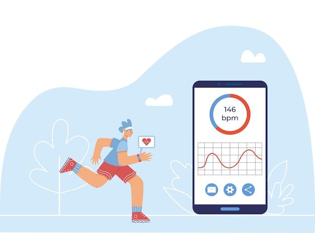Conceito de app de monitoramento de freqüência cardíaca. um menino com um relógio inteligente na mão corre perto de um enorme smartphone