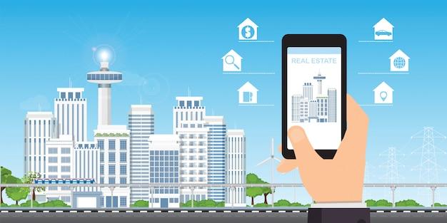 Conceito de app imobiliário